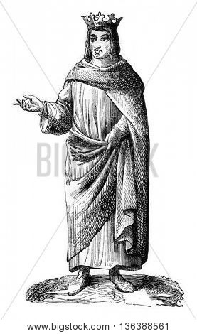 Louis XIII, ninth century, vintage engraved illustration. Magasin Pittoresque 1843.