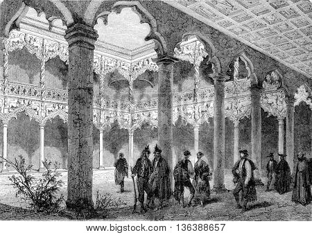 Courtyard of the palace of Guadalajara, vintage engraved illustration. Magasin Pittoresque 1852.