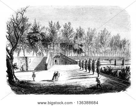 The Garden of the Cabaret Renard, the Tuileries, vintage engraved illustration. Magasin Pittoresque 1852.