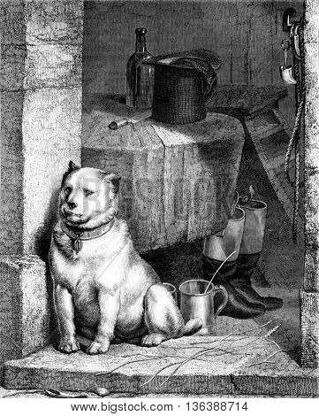 The servant of the Dog, by Landseer, vintage engraved illustration. Magasin Pittoresque 1852.