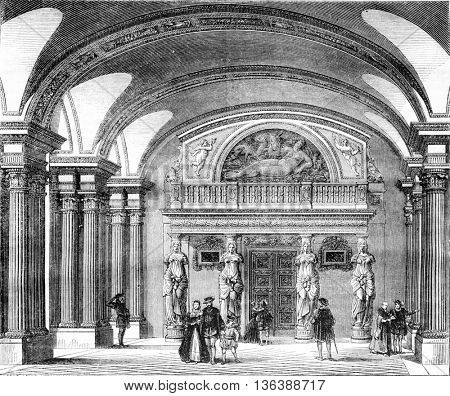 Interior view of the Hall of the Caryatids in the Louvre, vintage engraved illustration. Magasin Pittoresque 1843.