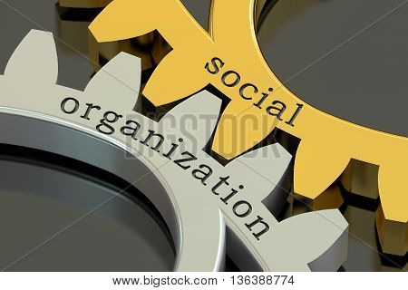 Social Organization concept on the gearwheels 3D rendering