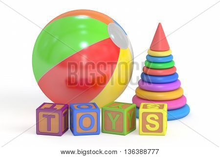 Toys concept 3D rendering isolated on white background