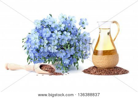 linseed oil flaxseed and flowers isolated on a white background