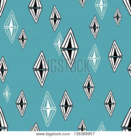 Seamless pattern with design elements. Vector background with doodle triangles.