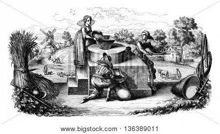 A mill arm, German allegorical engraving of the seventeenth century, vintage engraved illustration. Magasin Pittoresque 1852.