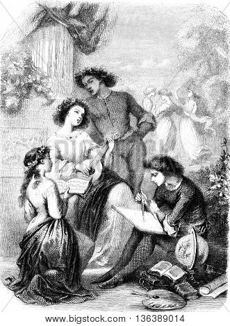 Composition and design of Tony Johannot, vintage engraved illustration. Magasin Pittoresque 1852.