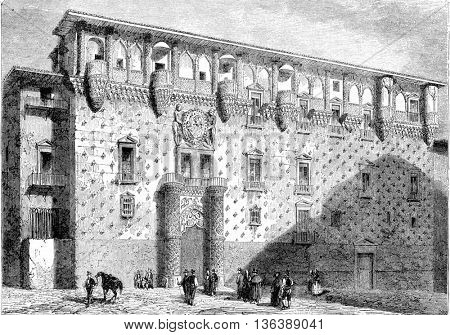 Facade of the Palace of Guadalajara, vintage engraved illustration. Magasin Pittoresque 1852.