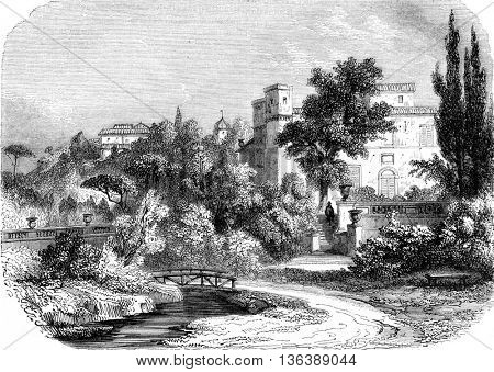 A view of the King Rene gardens, near Aix, vintage engraved illustration. Magasin Pittoresque 1852.