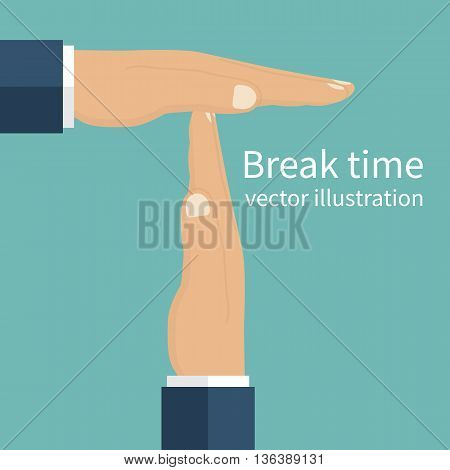 Businessman hands signaled a break from work. Gesture hands time-out. Vector illustration flat design style. Isolated male hands symbolizing a break.
