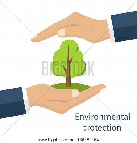 Environmental protection. Hands holding tree. Ecology concept. Protection ecology. Vector illustration flat design. Banner environmental protection.