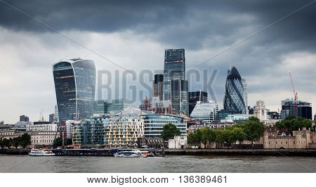 Panoramic view over London from the Tower Bridge to the City across the Thames