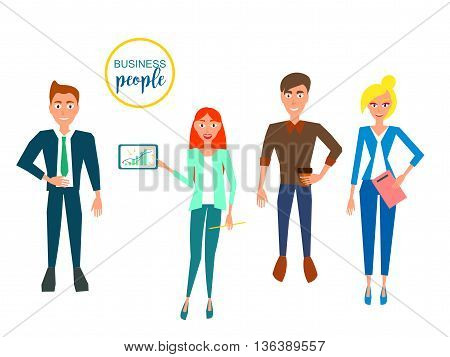 Business characters. Design Set with Employees. Vector Illustration.