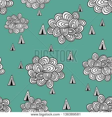 Abstract seamless pattern of clouds and rain. Vector illustration.