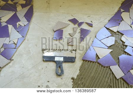 Mosaic tiles colored bat - creative ideas creator