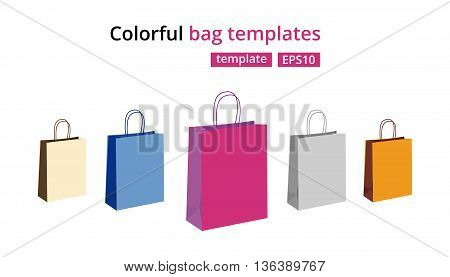Colorful empty paper shopping bags vector set. Gift bags illustration isolated on white.