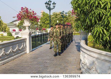 Guards Are Changing At Bang Pa-in Palace Near Ajutthaya