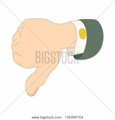 Thumb down dislike icon in cartoon style isolated on white background
