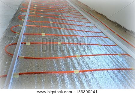 Electric floor heating - the process of manufacturing, repair room
