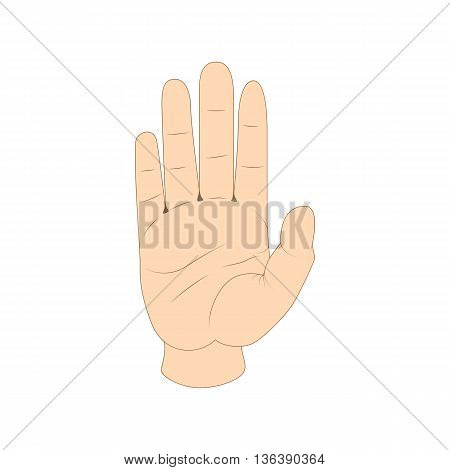 Hand showing five fingers. Welcome or stopping gesture. icon in cartoon style isolated on white background