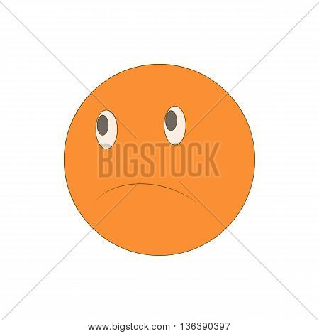 Sad unhappy emoticon icon in cartoon style isolated on white background