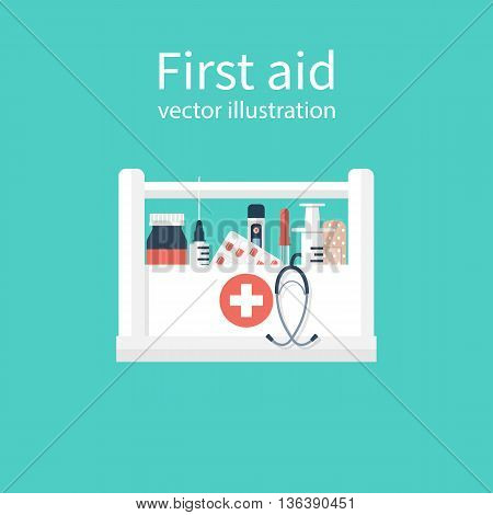 First aid kit box concept medical equipment and medications. Healthcare. Vector illustration flat design. Emergency template banner.