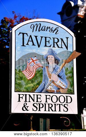Manchester Village Vermont - September 19 2014: Hand-painted sign for the Marsh Tavern at the distinguished Equinox Hotel and Resort