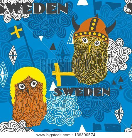 Seamless pattern with swedish theme. Cute owls and flags. Vector illustration.