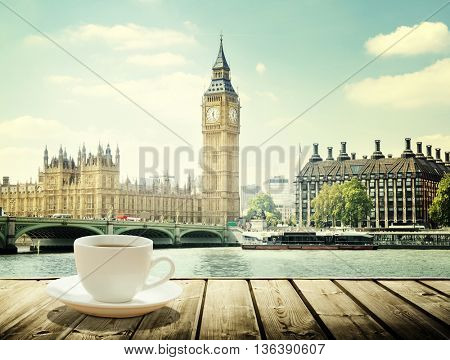 Big Ben and cup of coffee, London, UK