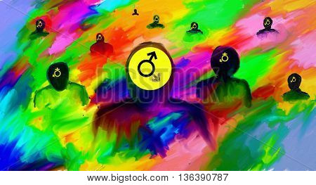 LGBT lesbian, gay, bisexual,  transsexual abstract digital painting
