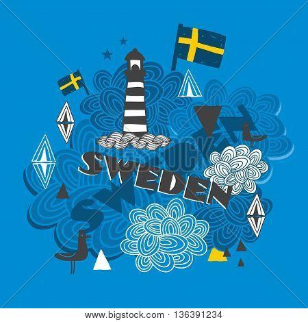 Cool emblem with swedish symbols. Vector illustration.