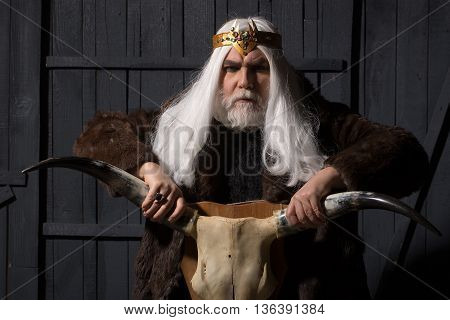old druid bearded man with long beard on serious face and hair in fur coat and crown with gem stones jewellery on wooden background holding animal skull with antlers