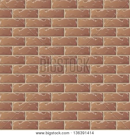 Old Brown Brick Wall Seamless Pattern for Continuous Replicate