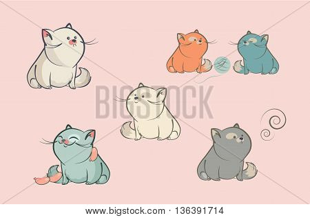 Set of cartoon characters vector cats who sit with different faces