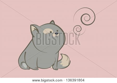 fat gray cat sitting and looking with interest on abstract rings. Animal cartoon style vector illustration