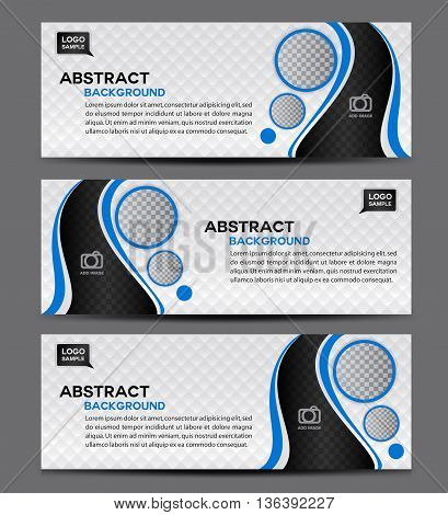 Blue and white Abstract Business Banner Template vector illustration