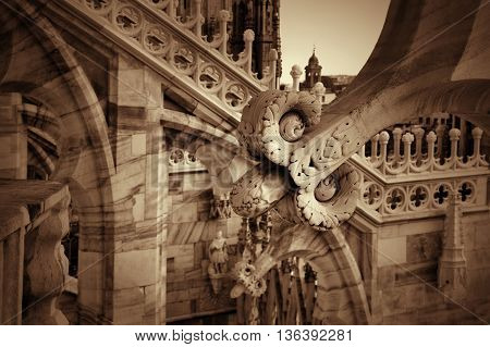 Detail of sculptures on the roof of the Duomo in Milan, Lombardy, Italy