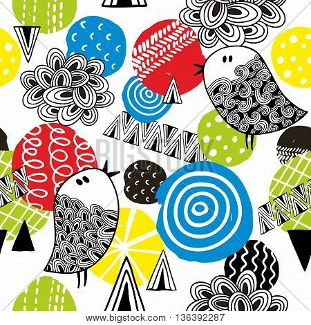 Seamless pattern with hand drawn bright design elements. Creative vector background in modern style.