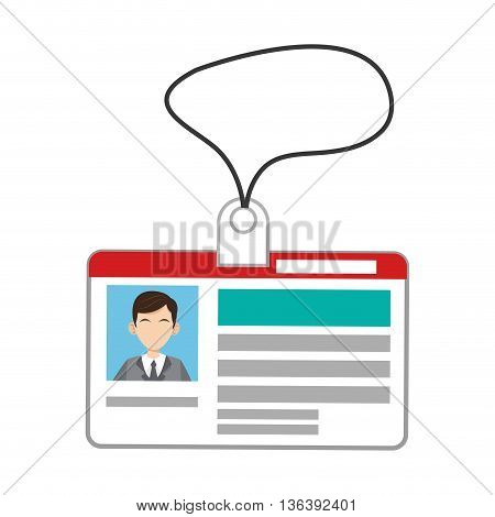 simple flat design id card with cord icon vector illustration
