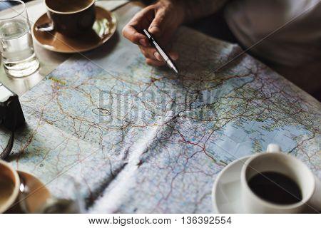 Map Location Navigation Route Trip Direction Concept
