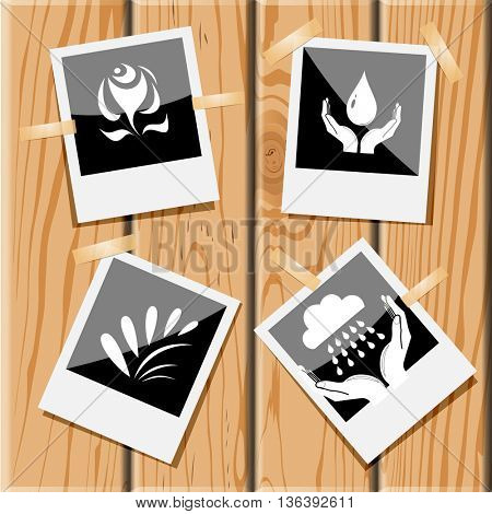 4 images: abstract rose, protection blood, plant, weather in hands. Nature set. Photo frames on wooden desk. Vector icons.
