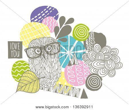 Creative design with smart owl. Vector illustration.