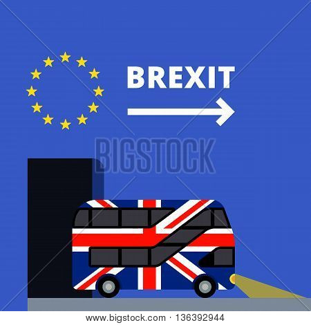 Double-decker bus painted in the United Kingdom flag colors flat color illustration. UK leaves the tunnel painted in the colors of the European Union flag with stars. Brexit text with arrow.