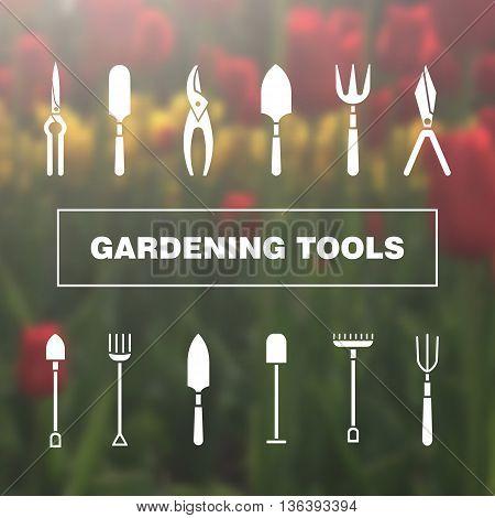 Set of icons - gardening tools. Web site design. Logo icons.