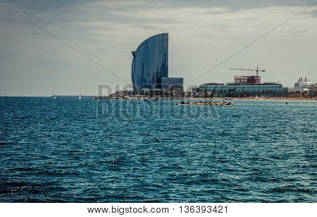 Barcelona Spain - May 24 2015. View of W Barcelona Hotel by the Mediterranean Sea