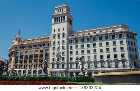 Barcelona Spain - May 26 2015. Buildings of Public Library of Barcelona and Banco Espanol de Credito at Catalonia Square