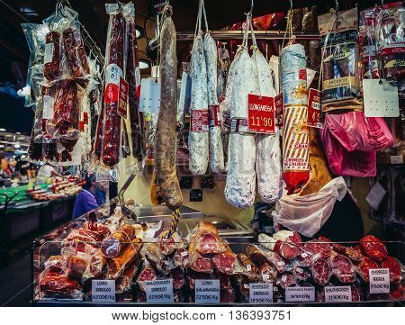 Barcelona Spain - May 26 2015. Traditional Longaniza sausages for sale at public market called La Boqueria foremost tourist landmarks in Barcelona