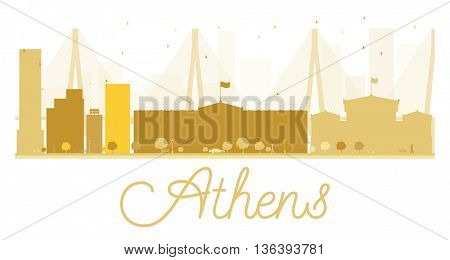 Athens City skyline golden silhouette. Vector illustration. Simple flat concept for tourism presentation, banner, placard or web site. Business travel concept. Athens isolated on white background