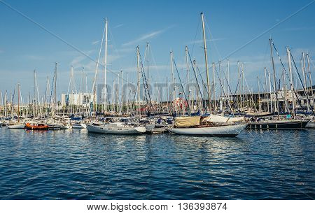 Barcelona Spain - May 26 2015. View of sailboats in Port Vell harbour
