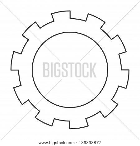 simple black line gear icon vector illustration